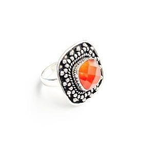 Free People Carnelian Ring Size 7 Sterling Silver